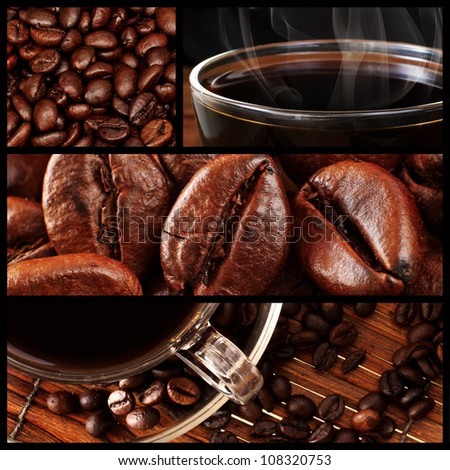 Montage of Fresh Coffee and Roasted Coffee Beans - stock photo