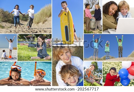 Montage of happy interracial group of children, girls and boys having fun playing in swimming pool, with balloons, at the beach, using laptop computer and gardening.  - stock photo