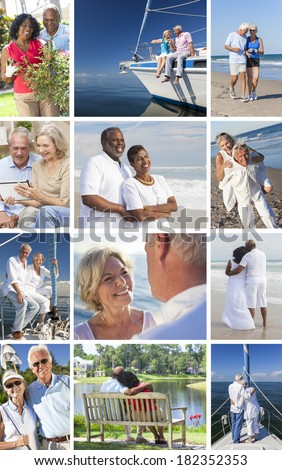 Montage of happy interracial old senior man woman couples enjoying active retirement lifestyle beach, gardening, playing golf, sailing, luxury yacht boat. - stock photo
