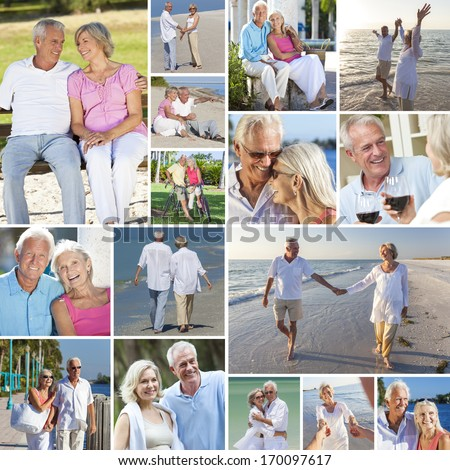 Montage of happy old senior man woman couples people enjoying an active retirement lifestyle on the beach, walking by a river or lake, drinking wine and cycling  - stock photo