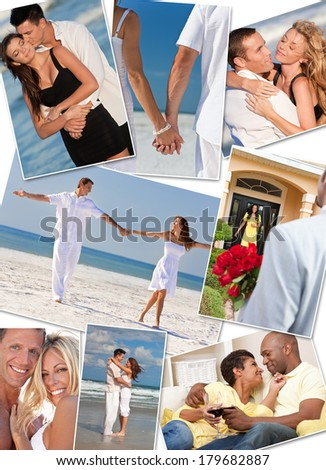 Montage of happy, romantic, interracial mixed race couples enjoying a relaxing lifestyle, at the beach embracing, holding hands, drinking wine at home in love. - stock photo