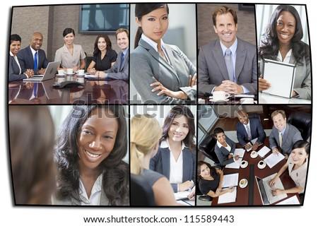 Montage of interracial business group men & women, businessmen and businesswomen team - stock photo