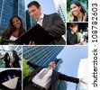 Montage of Interracial business group men & women, businessmen and businesswomen team outdoors - stock photo