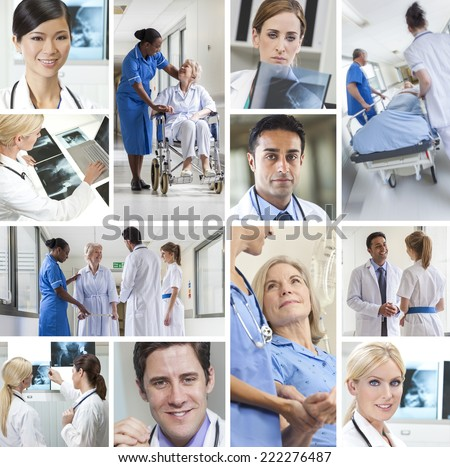 Montage of interracial medical people, men and women, doctors and nurses team in hospital caring for elderly senior old patients and analyzing x-rays - stock photo