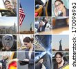 Montage of New York City, The Statue of Liberty and a busy, successful businesswoman working in the city on her mobile phone and tablet computer, catching yellow taxi cabs. - stock photo