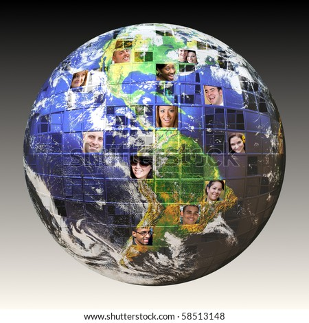 Montage of the earth with a global network of people from all walks of life on different continents.  A concept for crowd source or outsourced business. Earth photo courtesy of NASA. - stock photo