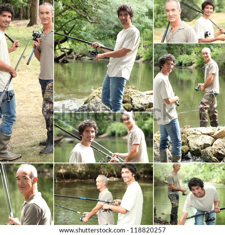 Montage of two men fishing - stock photo