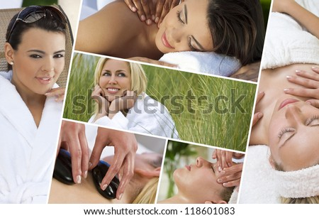 Montage of young beautiful women blond and hispanic relaxing at a health spa having massage and hot stone treatments - stock photo
