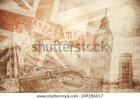 montage photo of London on vintage paper - stock photo