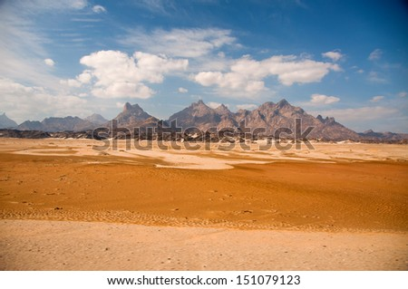 Montains on the Way to El Shalaten in Southern Egypt on January 2nd, 2012 - stock photo