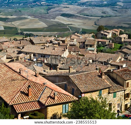 Montalcino old town view over Val d'Orcia scenery in Tuscany, Italy. - stock photo