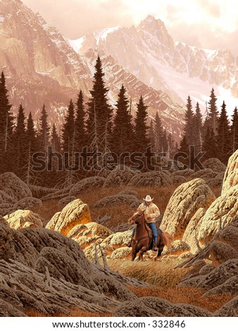 Montana Cowboy in the Rocky Mountains / AF-001 - stock photo