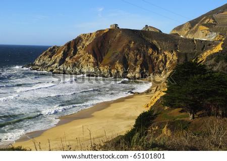 Montara State Beach near McNee Ranch State Park in California. - stock photo