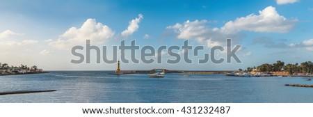 Montazah Lighthouse and Sea in Alexandria, Egypt - stock photo