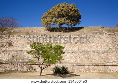 Monte Alban - the ruins of the Zapotec civilization in Oaxaca, Mexico - stock photo