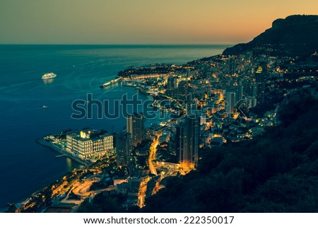Monte Carlo in View of Monaco at night on the Cote d'Azur - stock photo