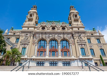 MONTE CARLO, MONACO - JULY 13, 2013: Facade of Salle Garnie - gambling and entertainment complex designed by Charles Garnier, opened in 1879, includes Casino and opera house in Monte Carlo, Monaco. - stock photo