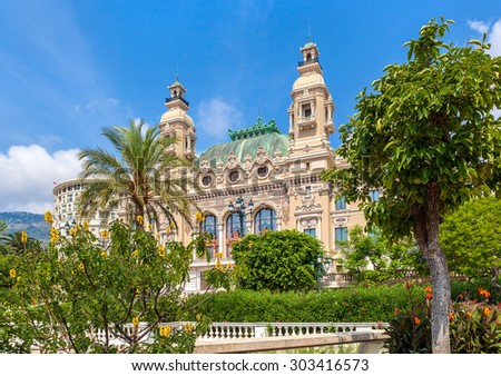 MONTE CARLO, MONACO - JULY 13, 2013: Salle Garnier - gambling and entertainment complex designed by architect Charles Garnier, opened in 1879, includes famous Casino and opera house. - stock photo