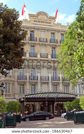 MONTE CARLO, MONACO - MAY 1: Hotel Hermitage on May 1, 2013 in Monte Carlo, Monaco. This historic luxury hotel was built in the early 1900s in the heart of Monte-Carlo.  - stock photo
