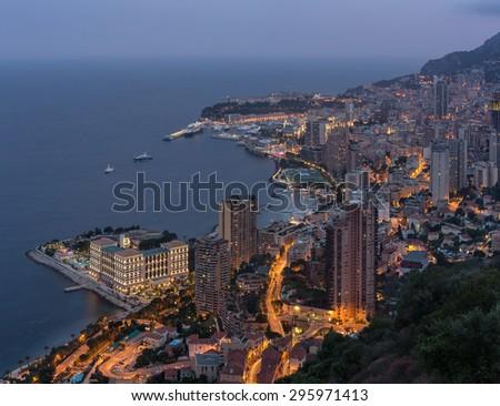 Monte Carlo on the Cote d Azur - stock photo