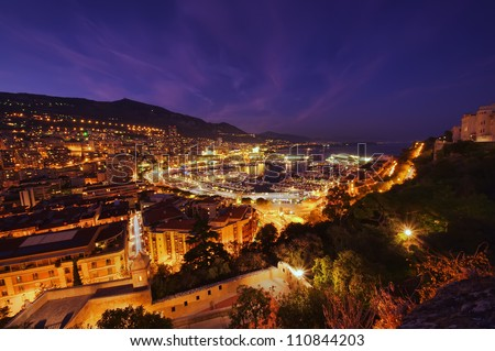 Monte Carlo port, Monaco. night scene, wide view - stock photo