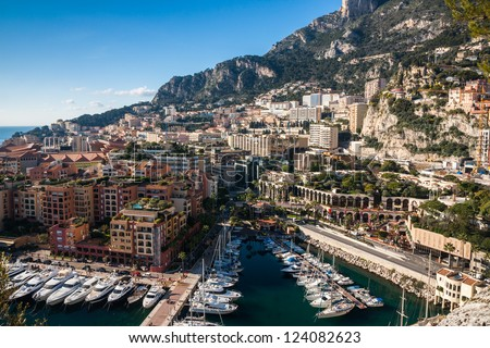 Monte Carlo skyline, French Riviera - stock photo