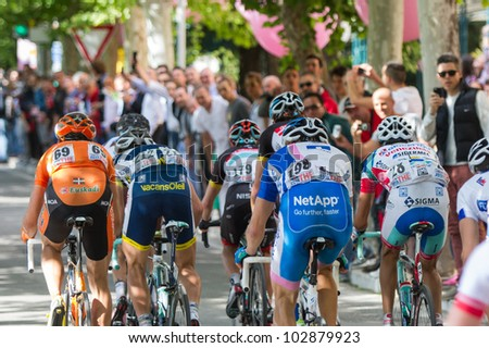 MONTECATINI TERME, ITALY - MAY 16: Main group during the 11th stage of 2012 Giro d'Italia on May 16, 2012 in Montecatini Terme, Italy - stock photo