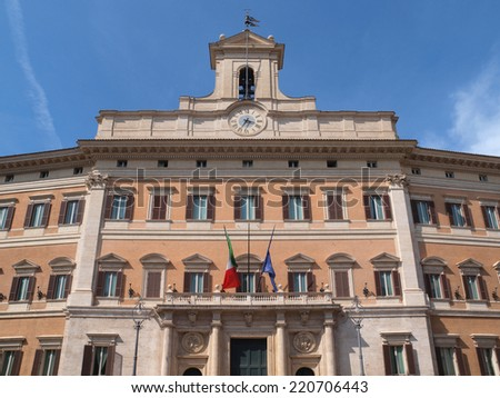 Montecitorio Palace, home of the Italian Parliament in Rome. - stock photo