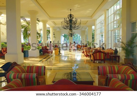 MONTEGO BAY, JAMAICA - SEPTEMBER 10, 2015: Exclusive resort hotel main lobby in Montego Bay, Jamaica. - stock photo