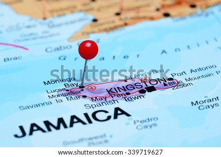 Montego Bay pinned on a map of America  - stock photo