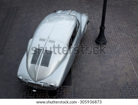 MONTEREY, CALIFORNIA, UNITED STATES, August 13, 2015: An overhead view of a restored collectible automobile, a 1948 Tatra T87. - stock photo