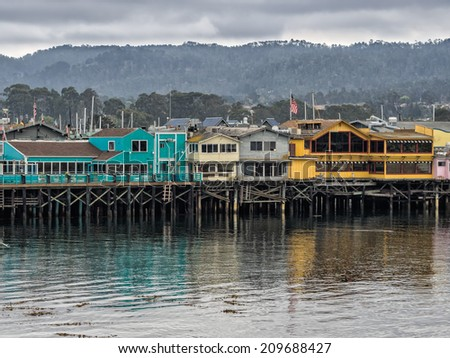 Monterey's Fisherman's Wharf - view from the West - stock photo