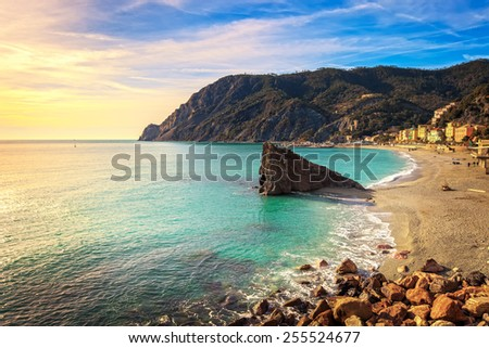 Monterosso beach, sea bay and rocks landscape. Five lands, 5 terre, Ligury Italy - stock photo