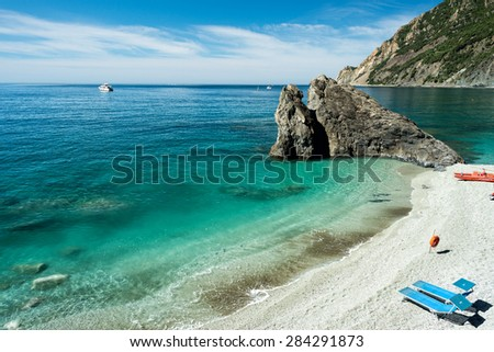 monterosso cinque terre panorama landscape on sunny day - stock photo