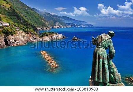 Monterosso - Cinque terre, pictorial Italian riviera series - stock photo