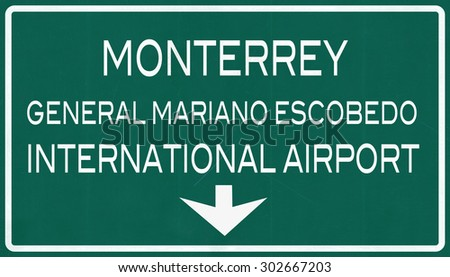 Monterrey Mexico International Airport Highway Sign 2D Illustration - stock photo
