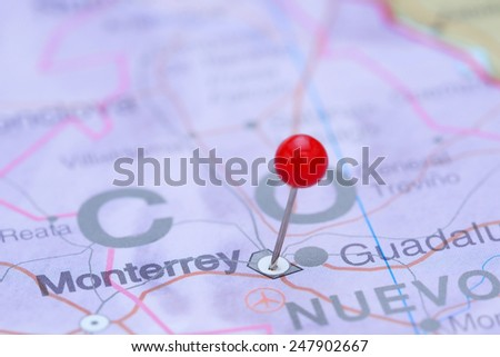 Monterrey pinned on a map of America  - stock photo