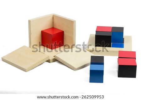 Montessori Materials. Binomial Cube.  - stock photo