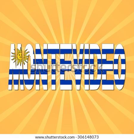 Montevideo flag text with sunburst illustration - stock photo