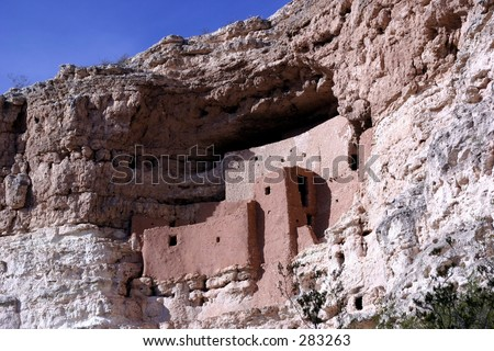 Montezuma Castle National Monument - cliff dwelling indian ruins in Campe Verde, Arizona. - stock photo