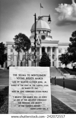MONTGOMERY, ALABAMA - DECEMBER 3: Monument dedicated to the Selma to Montgomery Voting Rights March on Dexter Avenue on December 3, 2014 in Montgomery, Alabama - stock photo