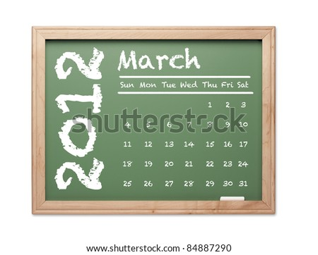 Month of March 2012 Calendar on Green Chalkboard Over White Background. - stock photo