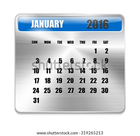 Monthly calendar for January 2016 on metallic plate, orange holidays. Can be used for business and office calendars, website design, prints etc. - stock photo