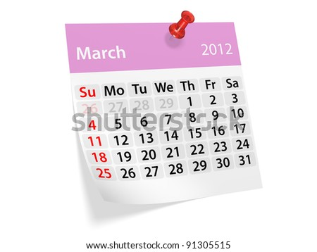 Monthly calendar for New Year 2012. March. - stock photo