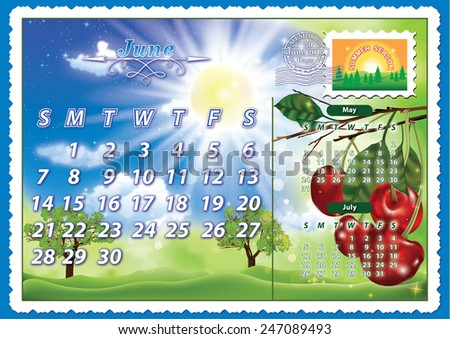 Monthly calendar 2015 - June - Illustration June - planning calendar (postcard design), having a summer landscape on the background and some cherries on a branch on the right. Print colors used. - stock photo