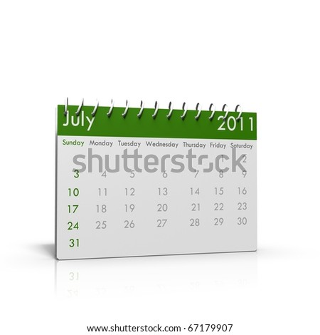 Monthly calendar of July 2011 with spiral on top - stock photo