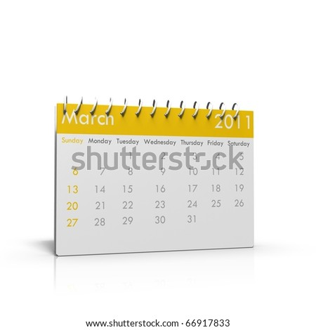 Monthly calender of March 2011 with spiral on top - stock photo