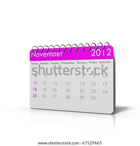 Monthly calender of 2012 with spiral on top and rounded corners - stock photo