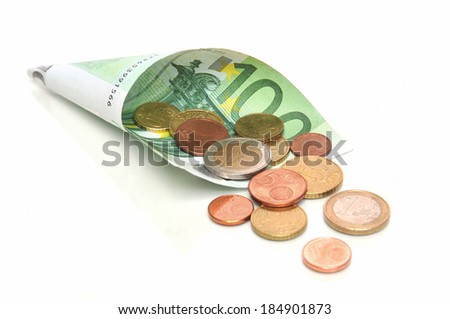 Monthly income - 100 Euro banknote with coins - stock photo