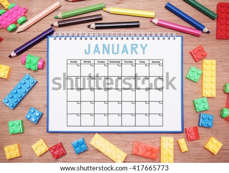 monthly planner. january - stock photo